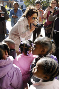 Oprah videotapes a group of daycare students